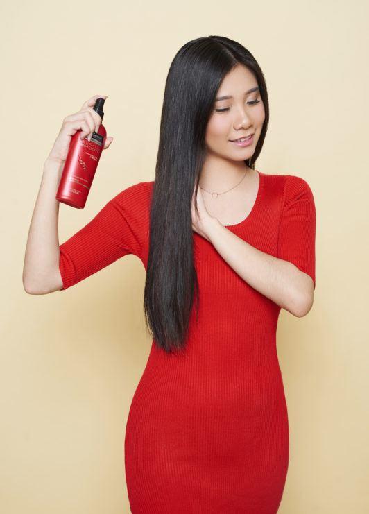 tutorial rambut beehive - gunakan heat protection spray