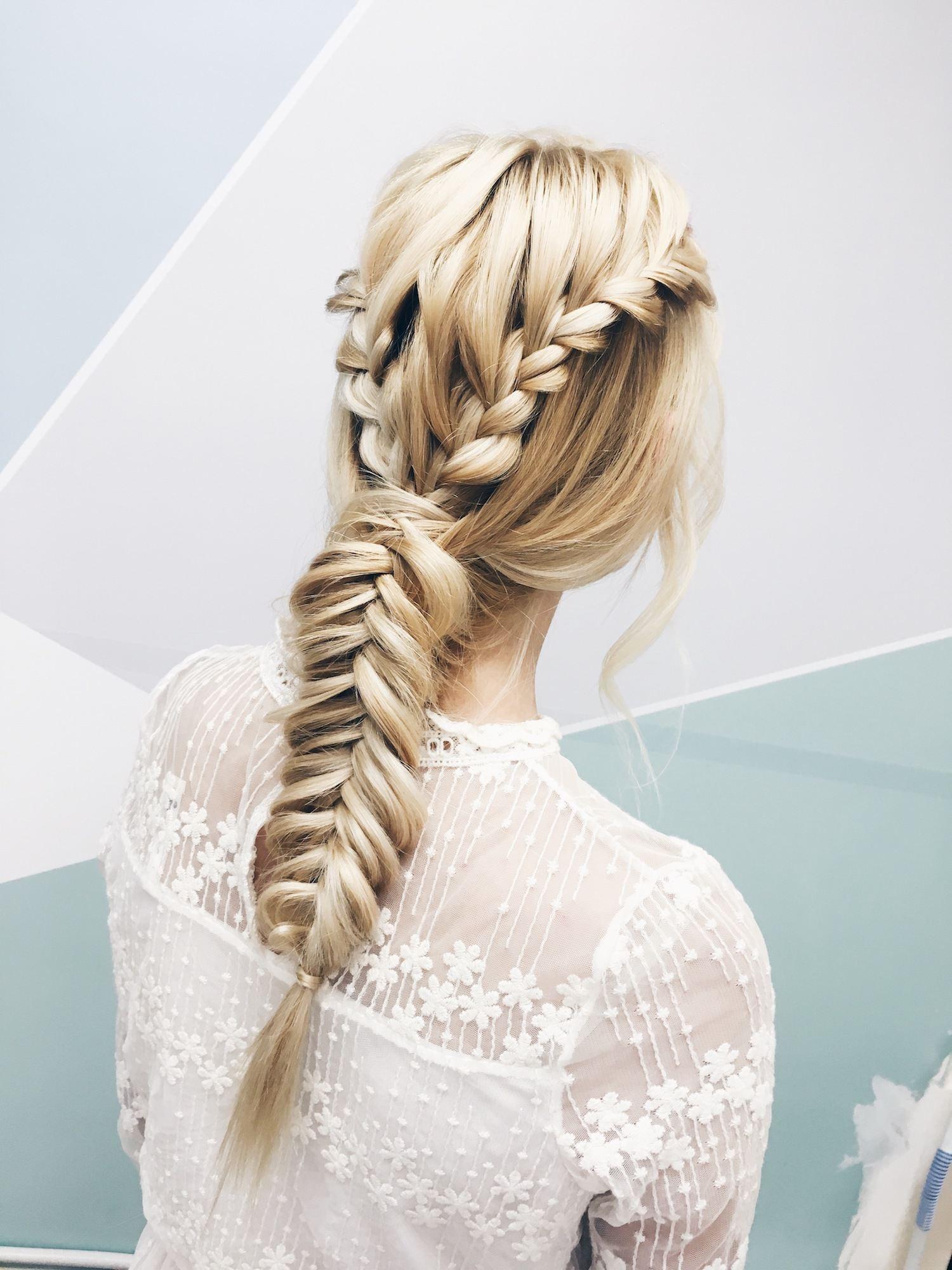 Double braid dan fishtail model rambut pesta pernikahan.