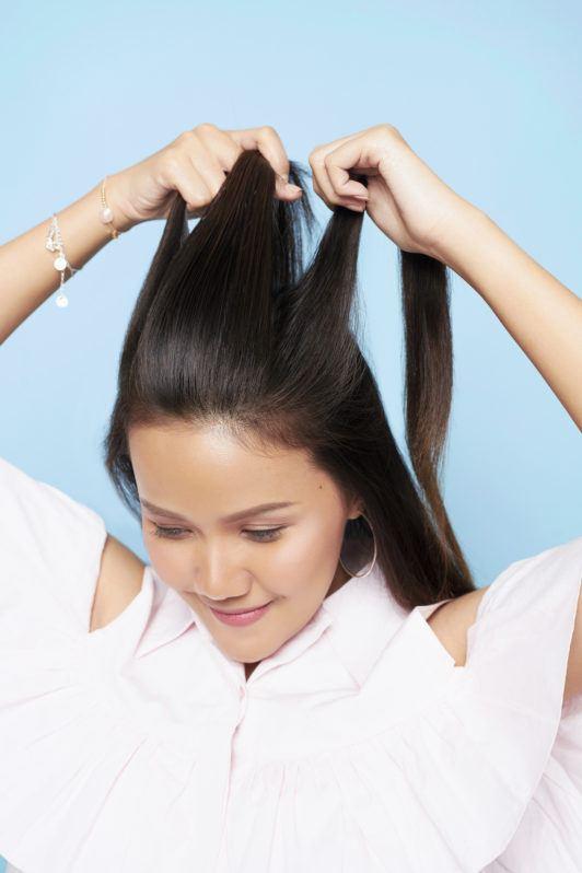 belah rambut atas menjadi tiga