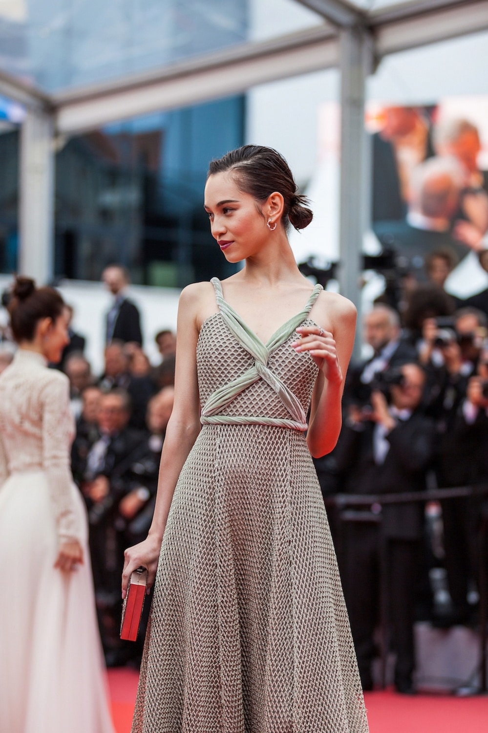 Kiko Mizuhara Low bun messy Cannes Film Festival 2018.
