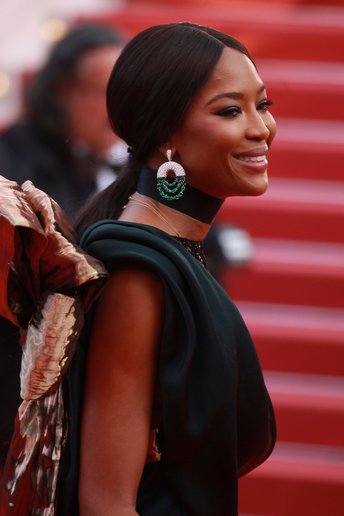 Naomi Campbell low ponytail Cannes Film Festival 2018.