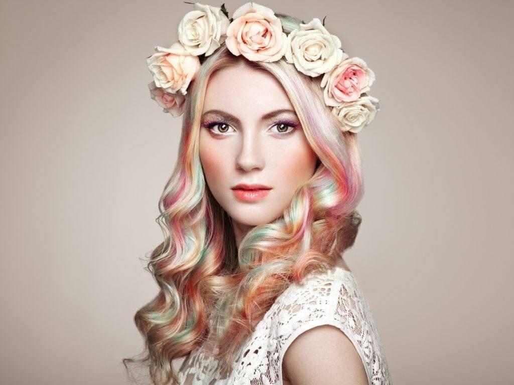 Warna rambut soft pastel pelangi