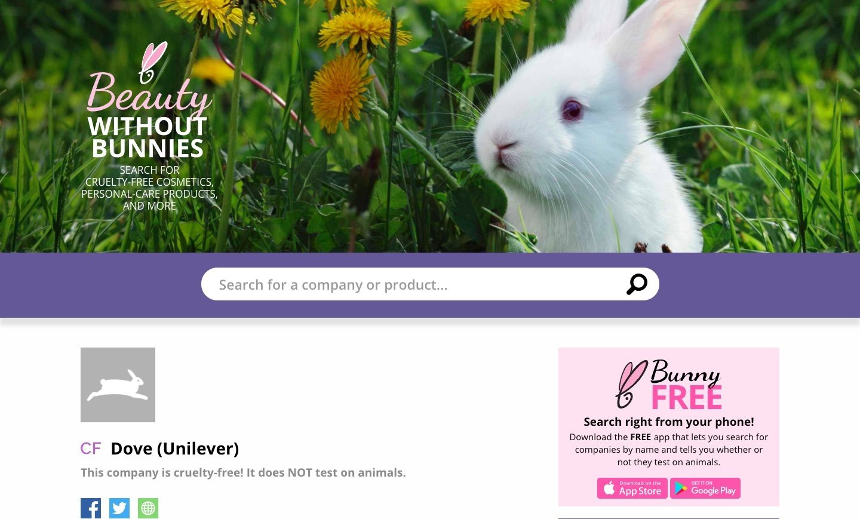 Dove mendapat label cruelty-free dari PETA