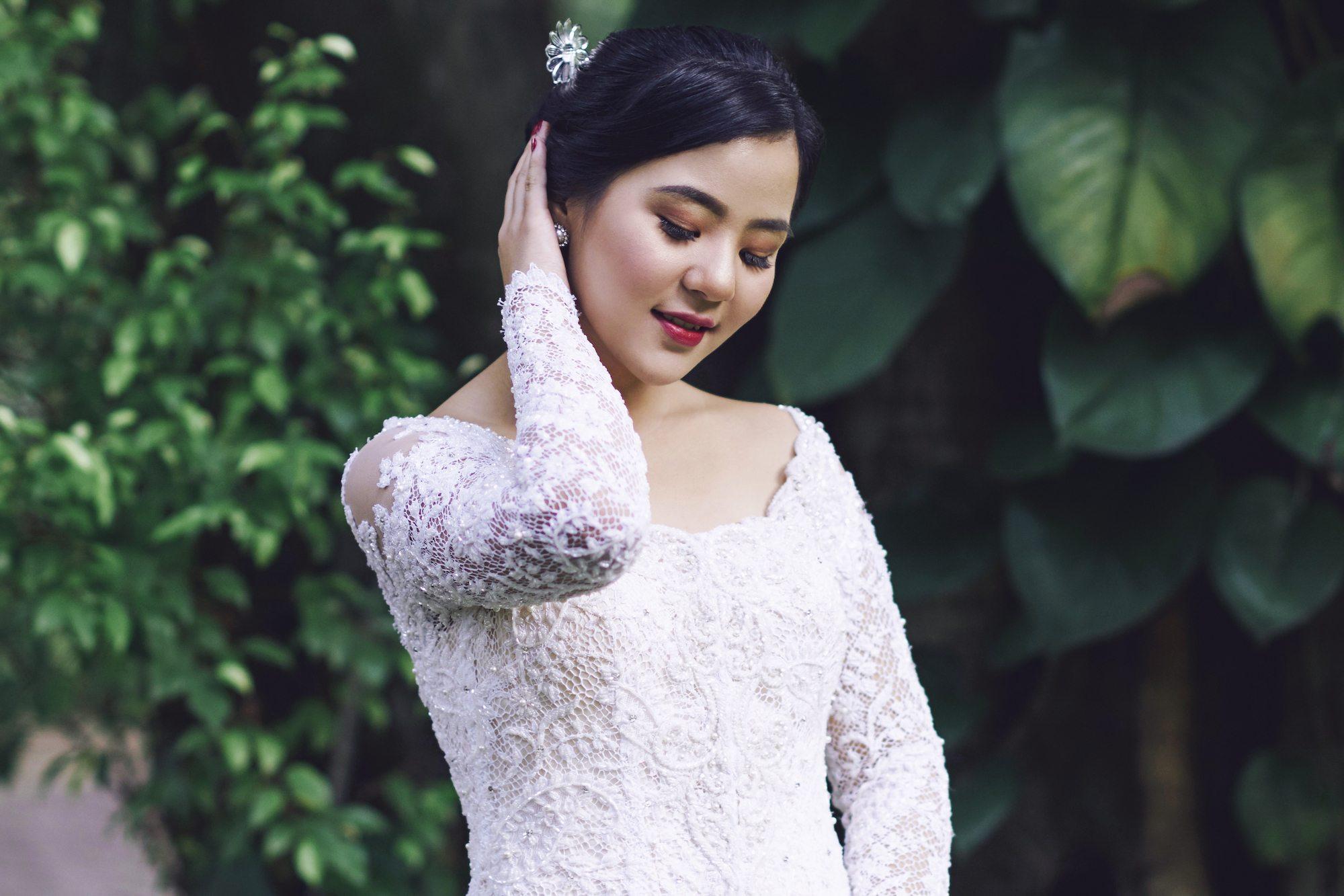 sanggul pengantin modern untuk wajah bulat