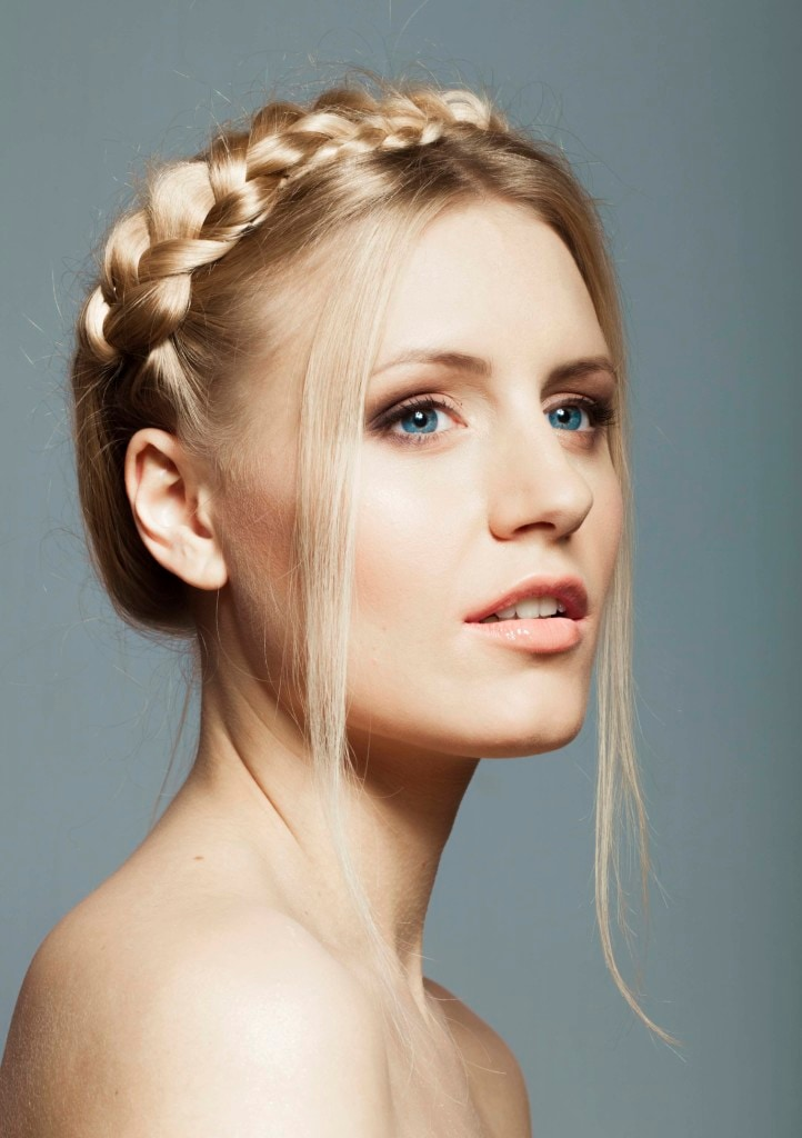 braided crown blonde hair