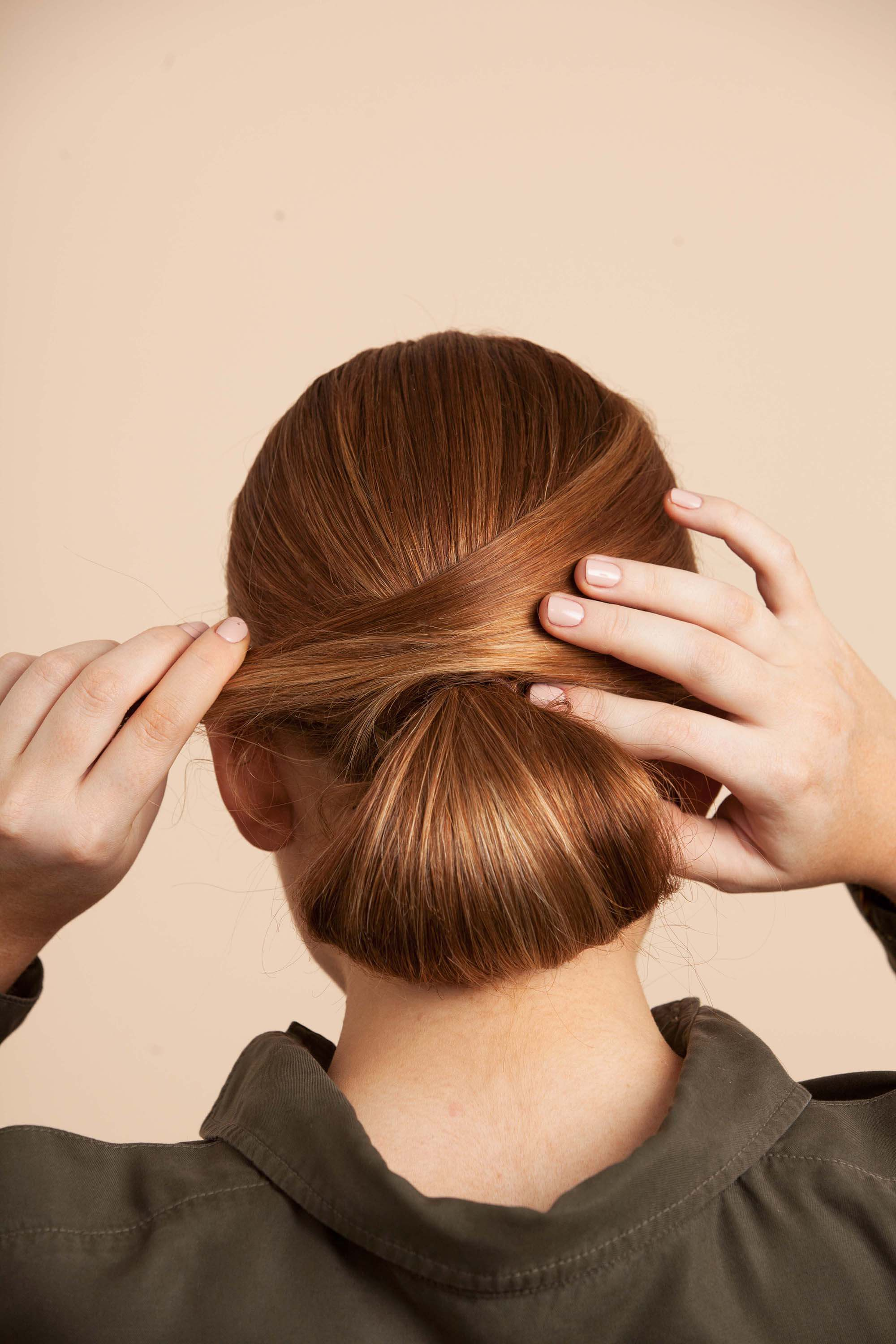 perfect chignon step 8 place section over bun base