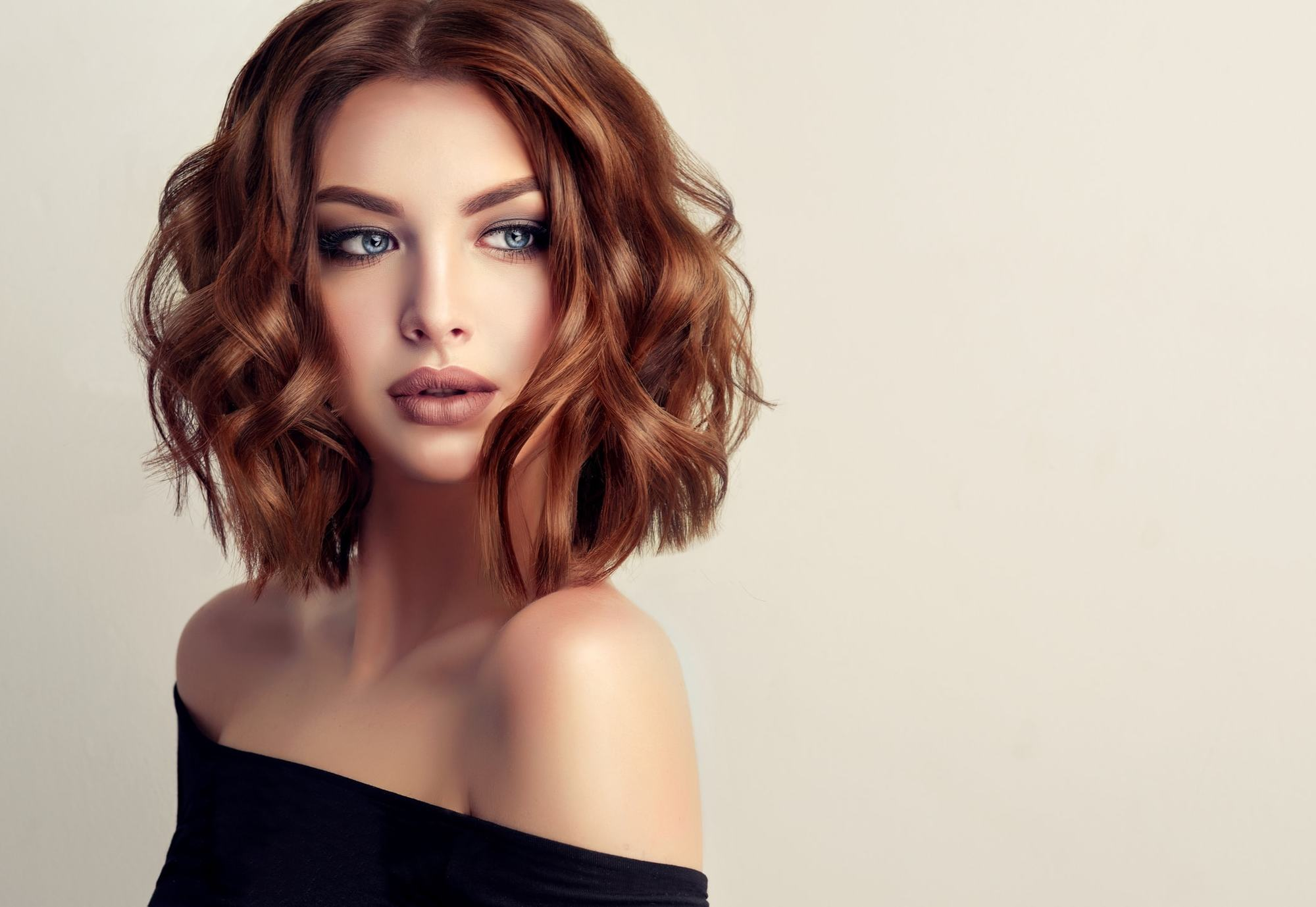 evening hairstyles red bob flat iron curls