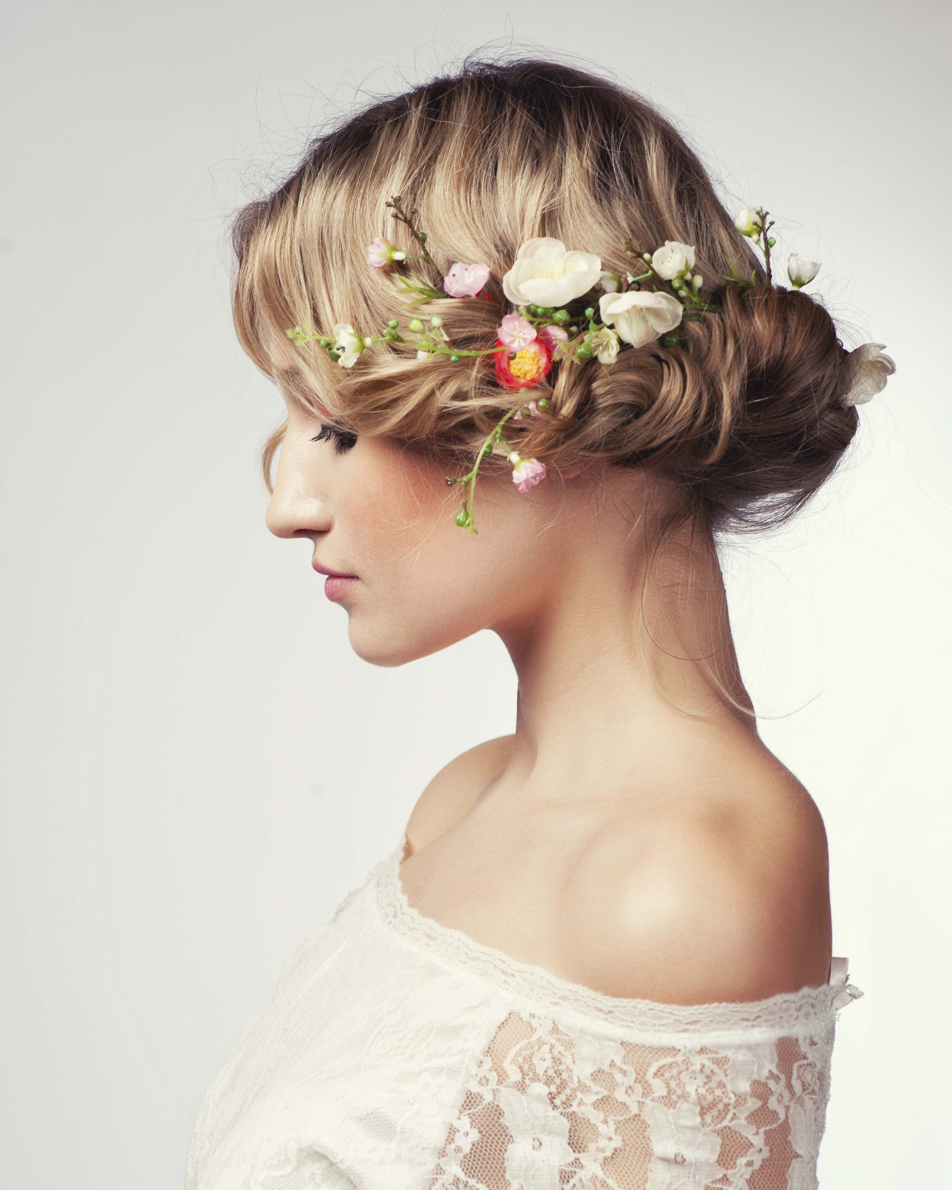 wedding hairstyles for thin hair floral updo