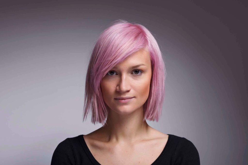 long face types: pink hair