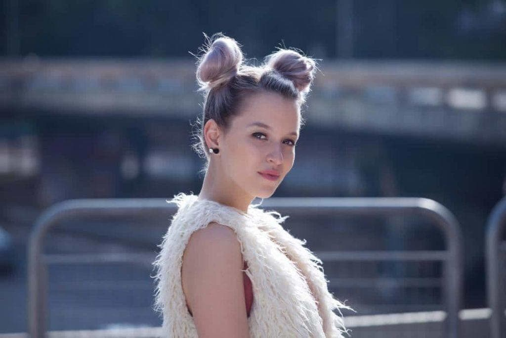 long hairstyles for thin hair: space buns