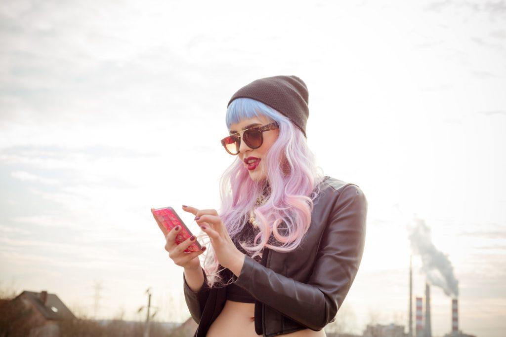 pink hair light pink light blue long curls