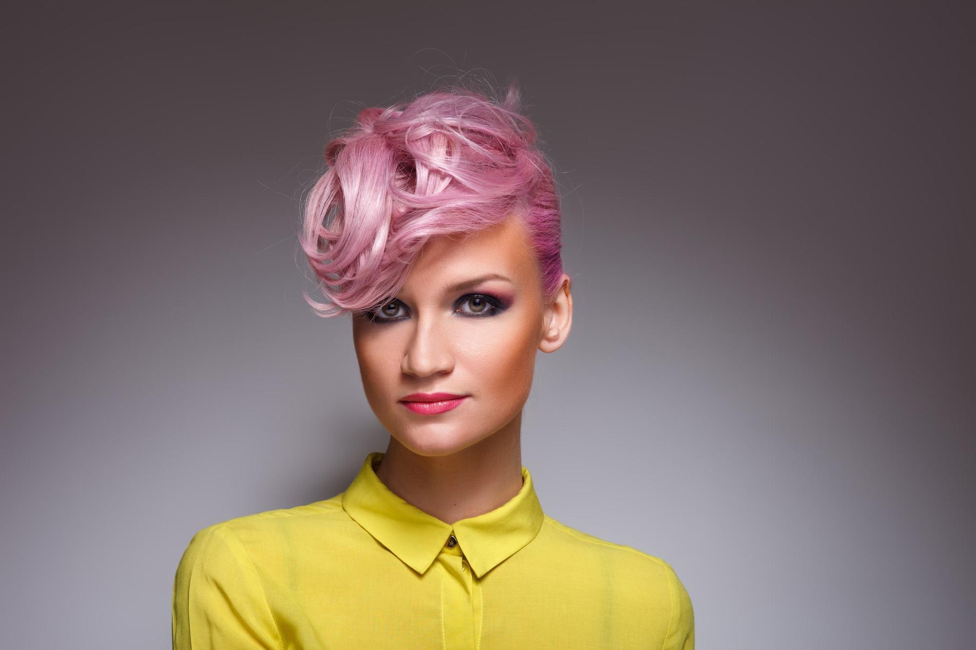 pink hair short blown out