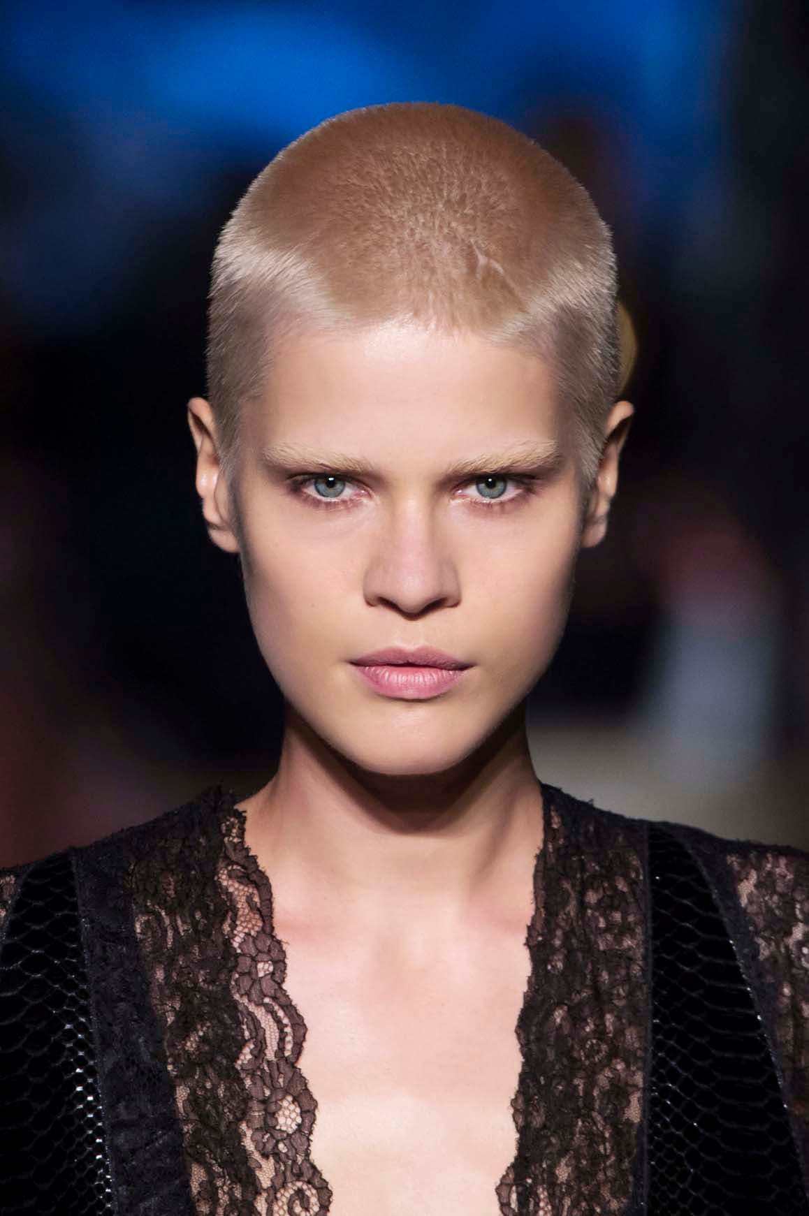 shaved hairstyles for women buzz cut style on runway model