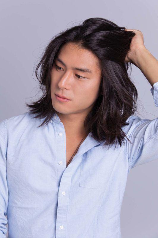Asian bun short hair cannot