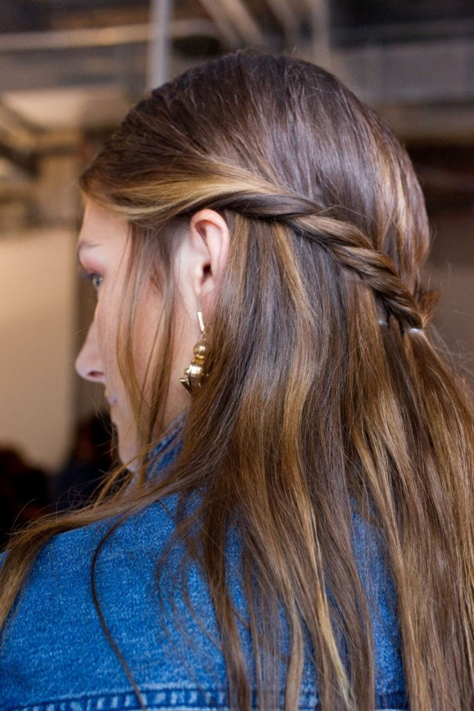 trending long hairstyles for thin hair include half twists