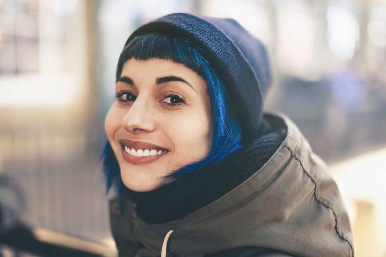 Medium Hairstyles blue hair hat