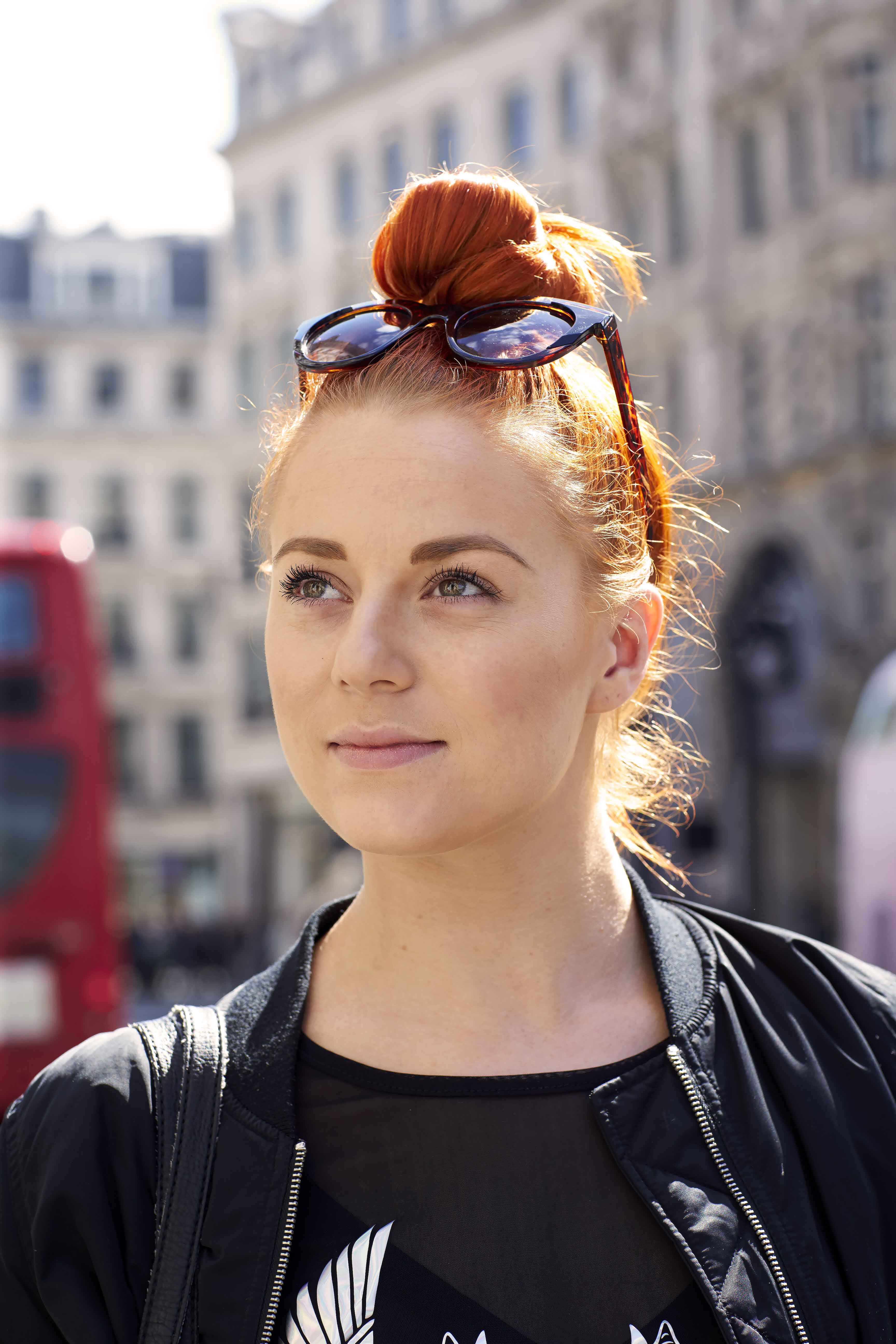 Ginger hair: cool top knot