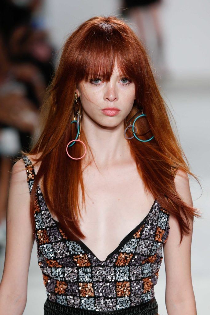 long hairstyles for oval faces with a red full fringe