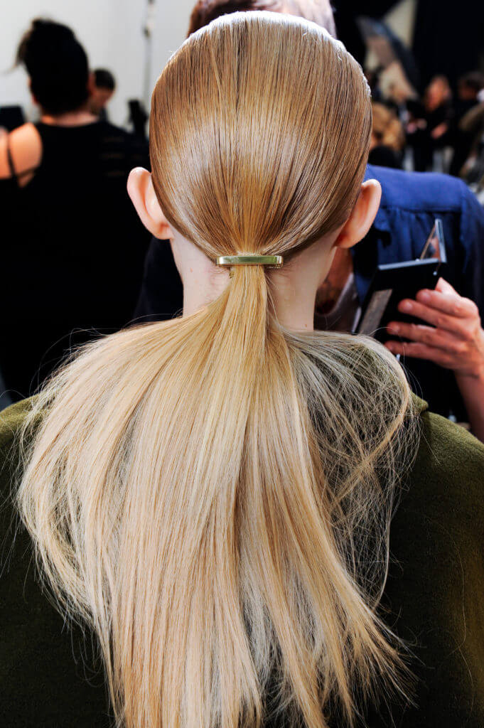 party hairstyles for long hair low ponytail