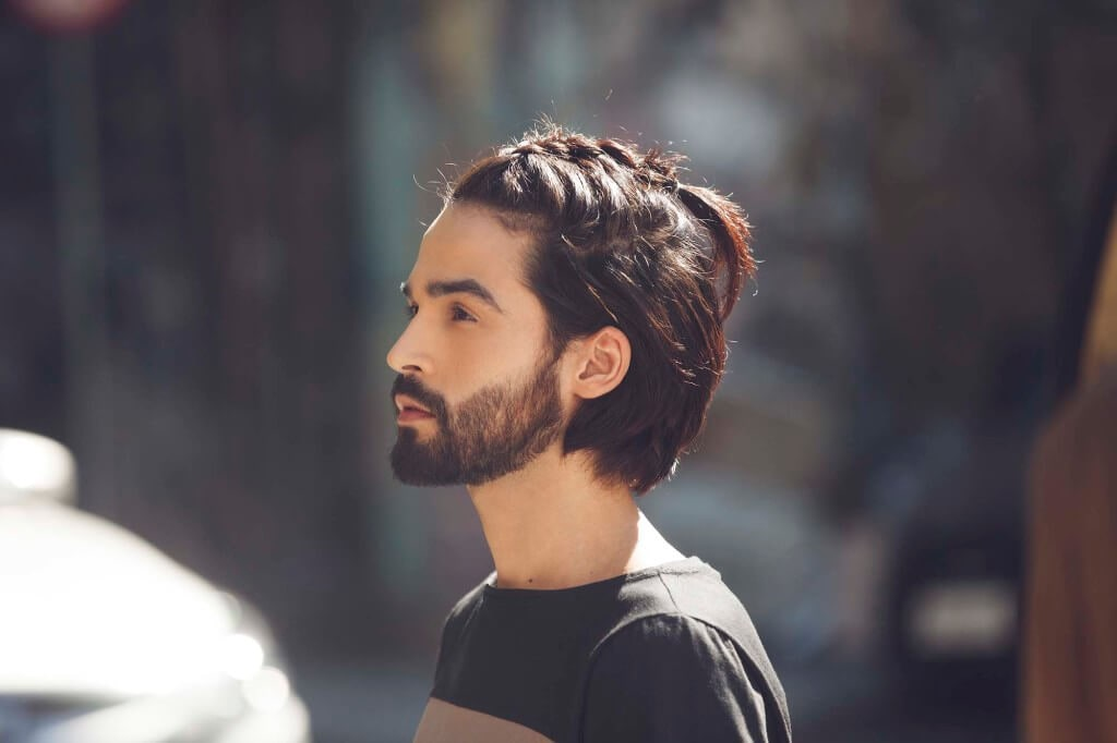 Man braid hairstyle finished look