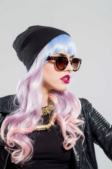 halloween hair color pink and blue hair
