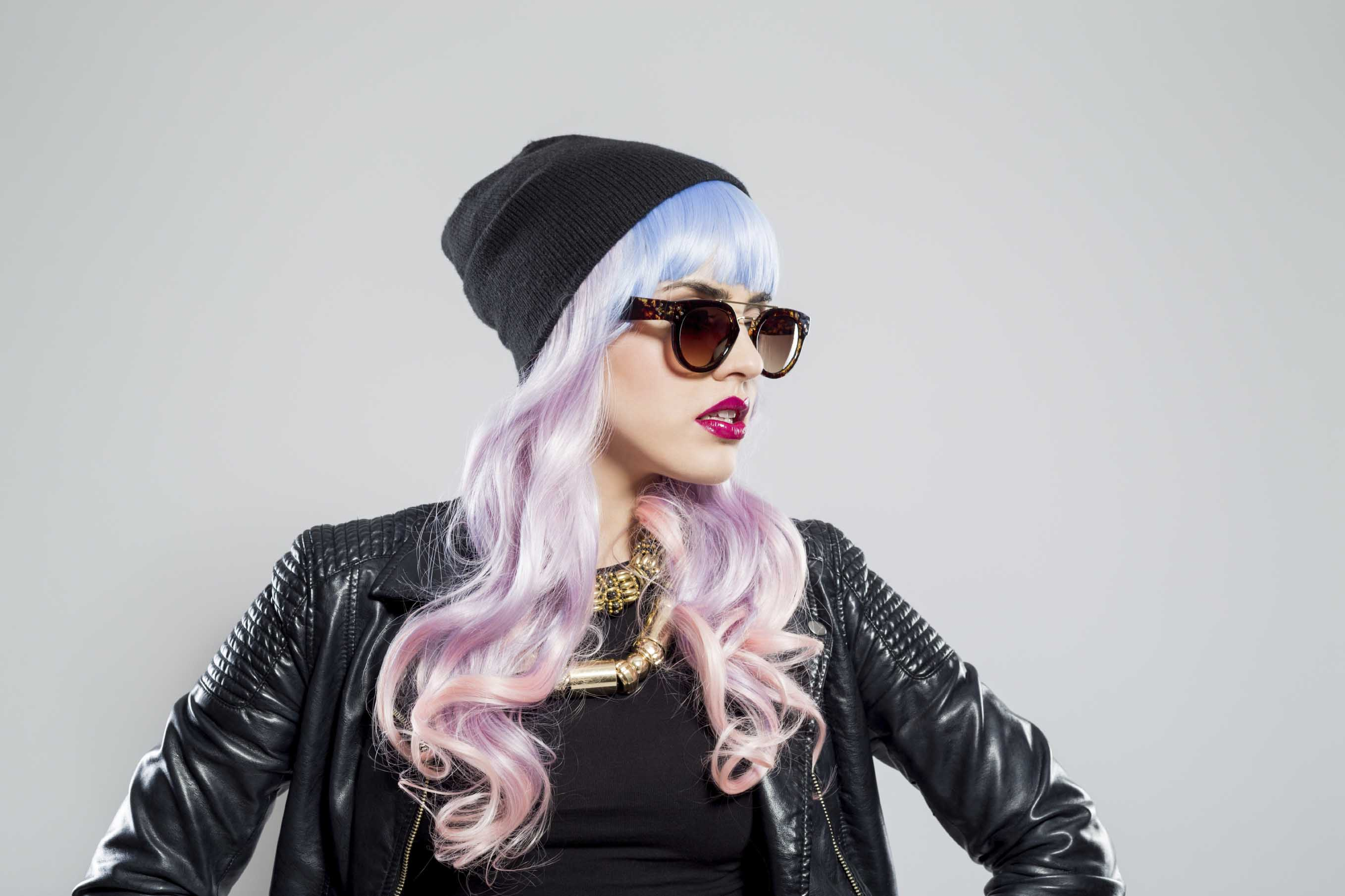 halloween pink hairstyles blue ombre