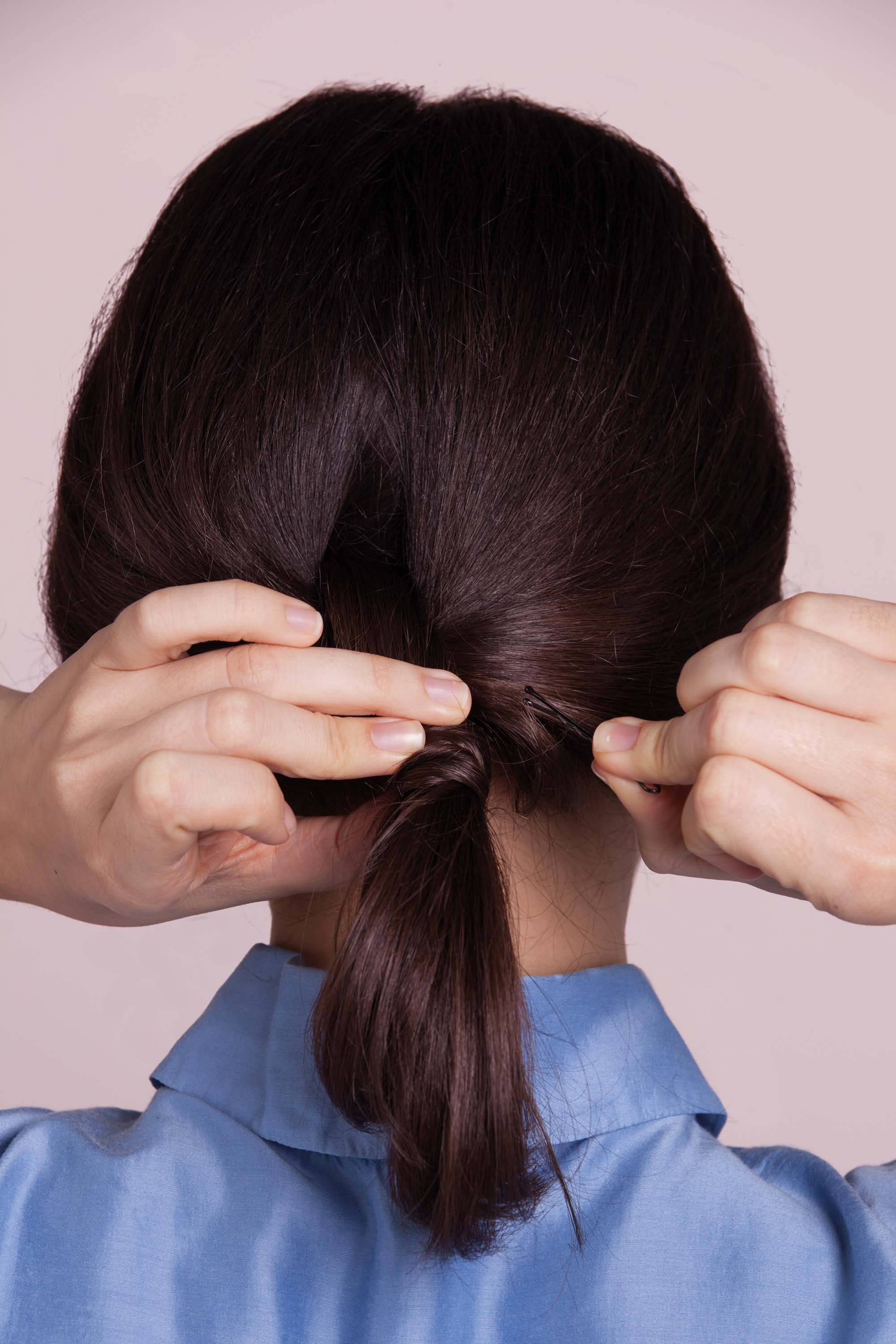 cute ponytail secure with hair pins