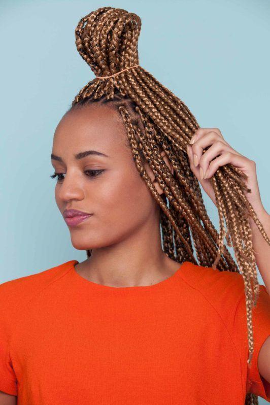 tutorial how to create a bow bun updo on box braids