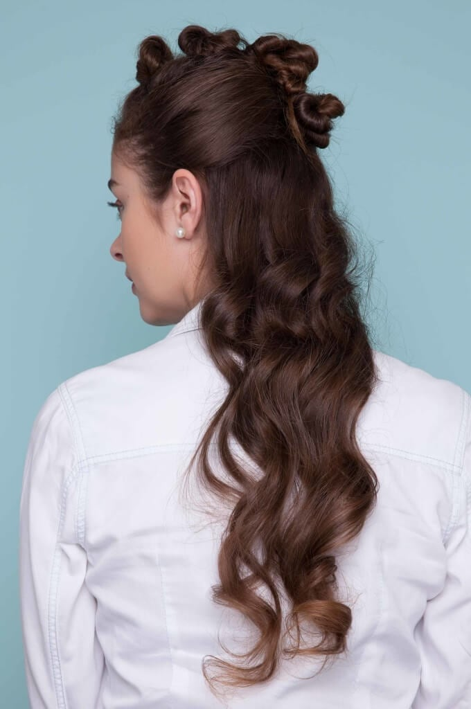 go for multiple buns for funky look for your baby shower