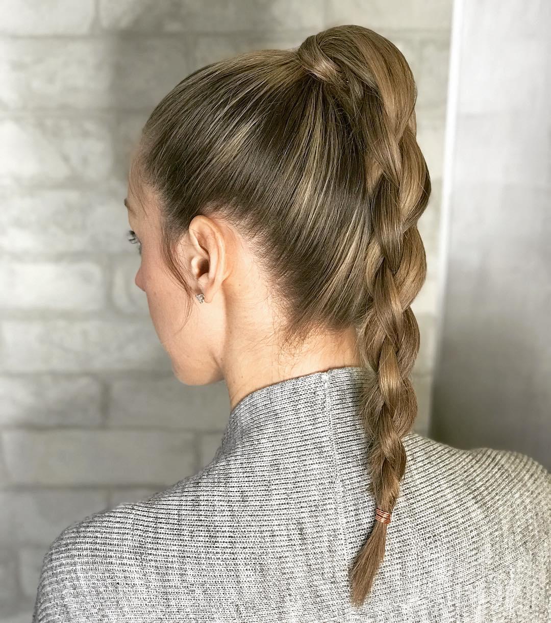 four strand braid high ponytail