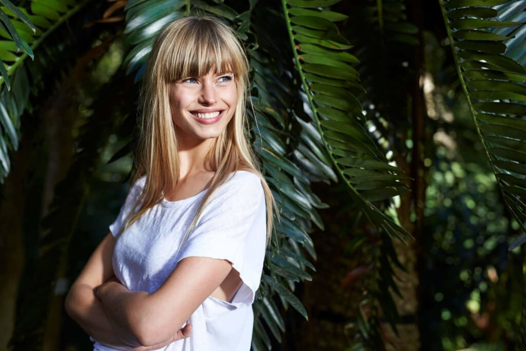 hair care blonde long hair bangs