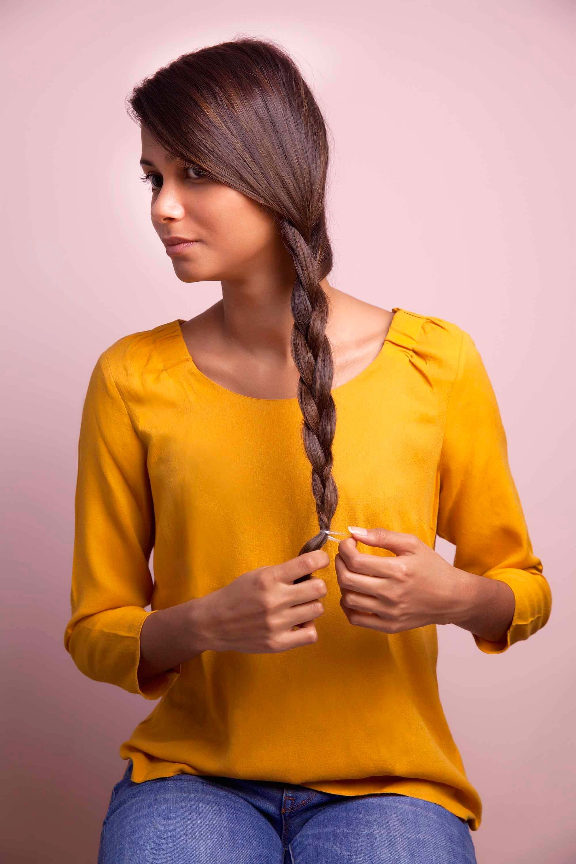 side braids for long hair secure