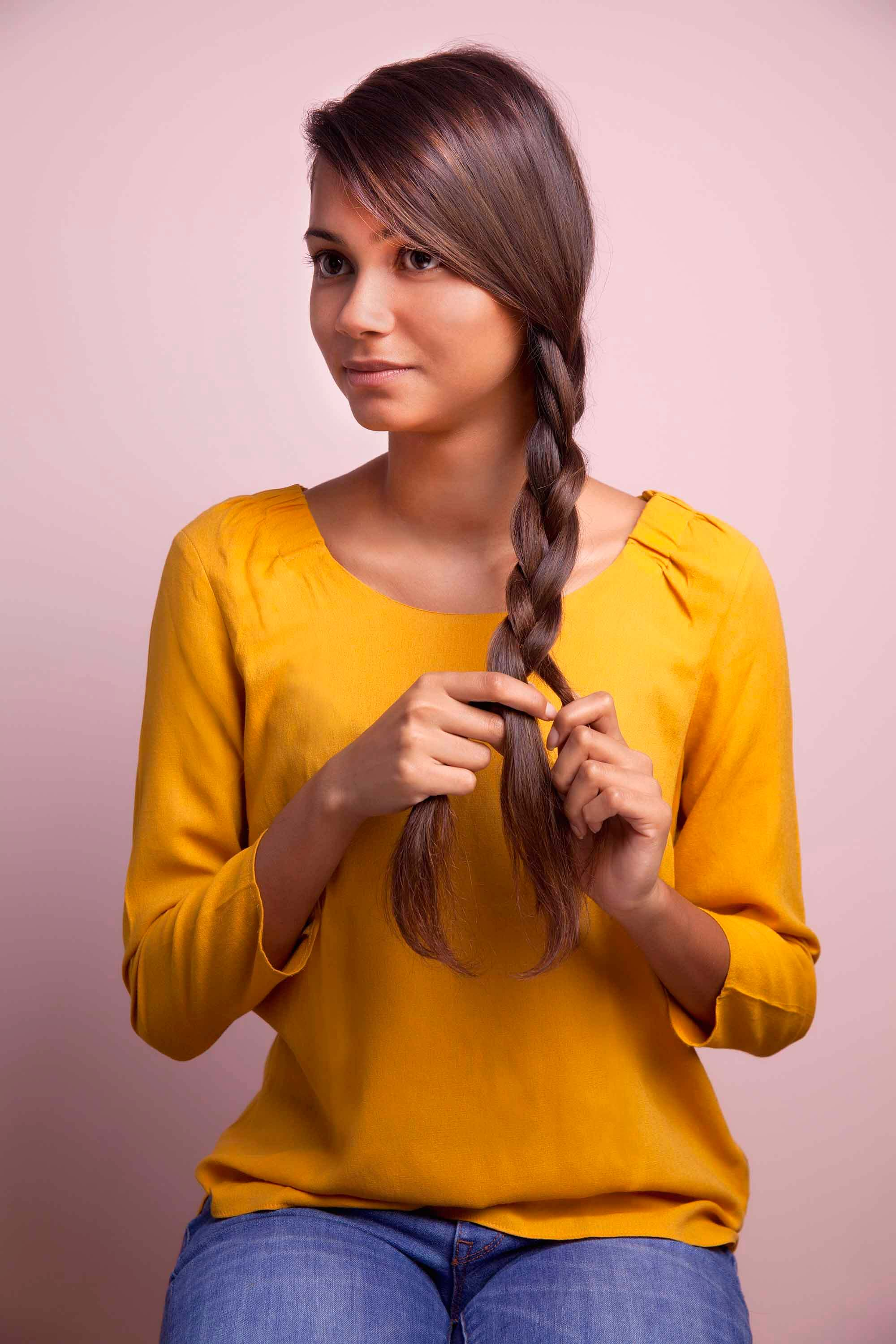 side braids for long hair criss cross