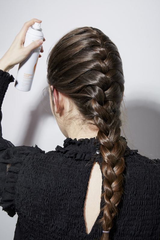 French braid tutorial: hairspray