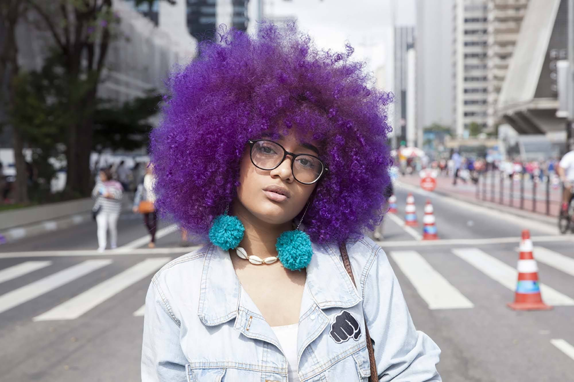 Cute Natural Hairstyles purple afro