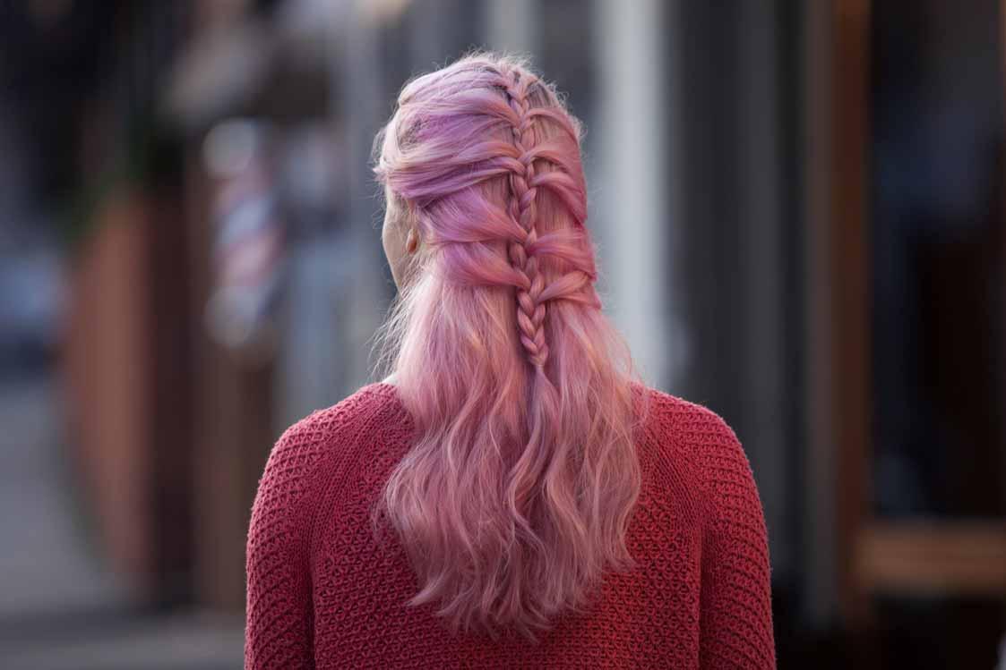 mermaid hair braid pink regular plait