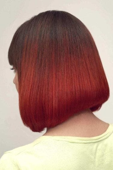 red ombre hair: asymmetrical bob