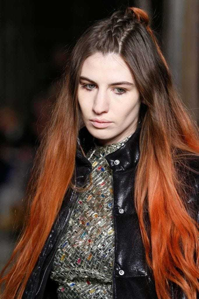 red ombre hair: long unicorn braid