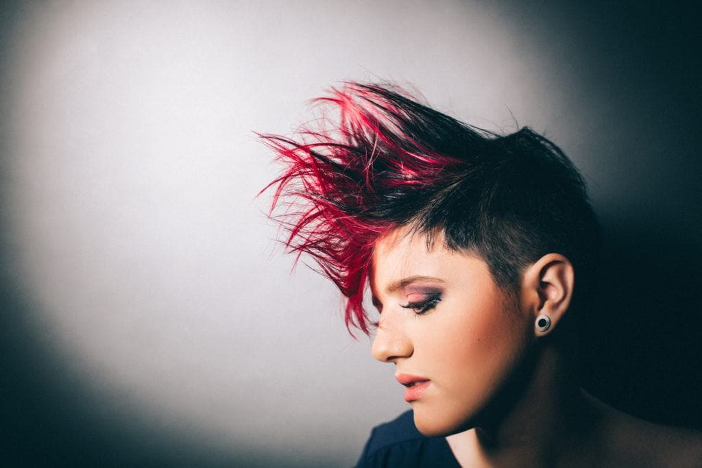 red ombre: spiky pixie