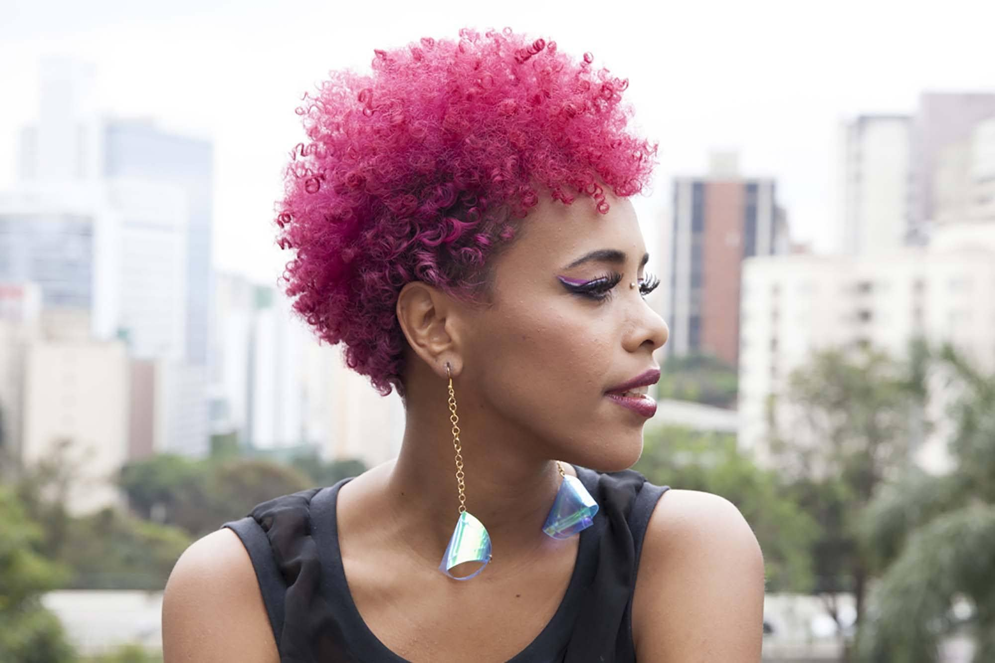 Cute Natural Hairstyles pink hair