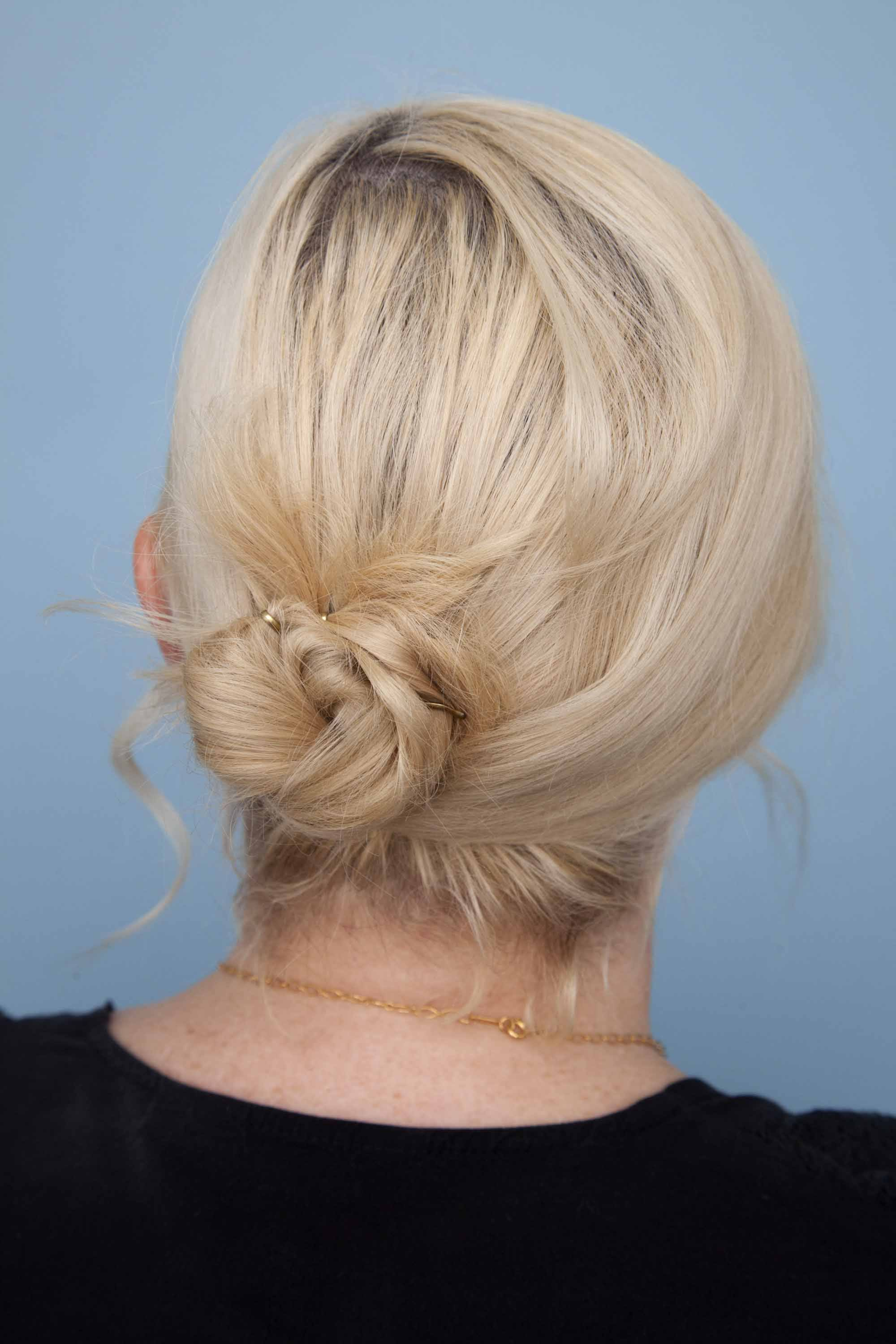updos for medium-length hair twisted low bun