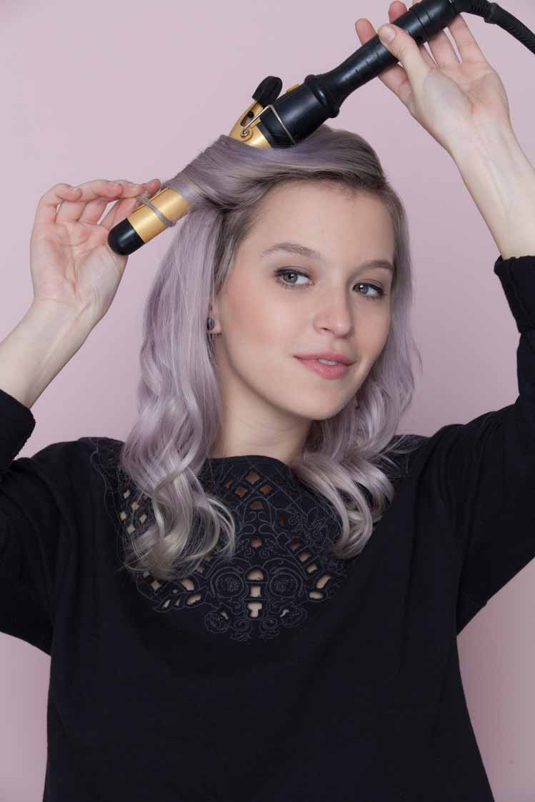 how to do a waterfall braid loose curls with iron on lilac hair