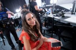 chatting with Louise Roe at NYFW