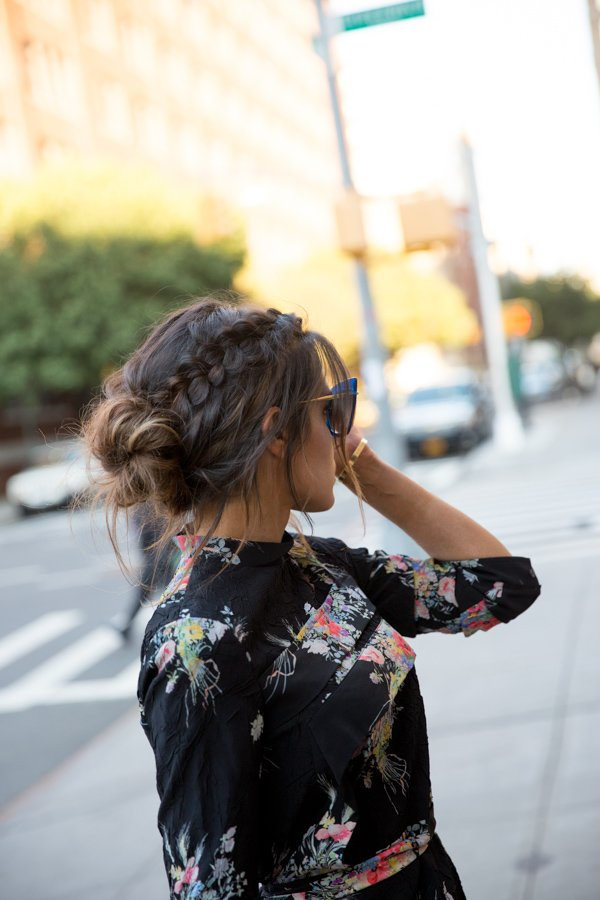 dry shampoo messy bun with braid
