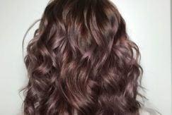 chocolate mauve hair wavy lob