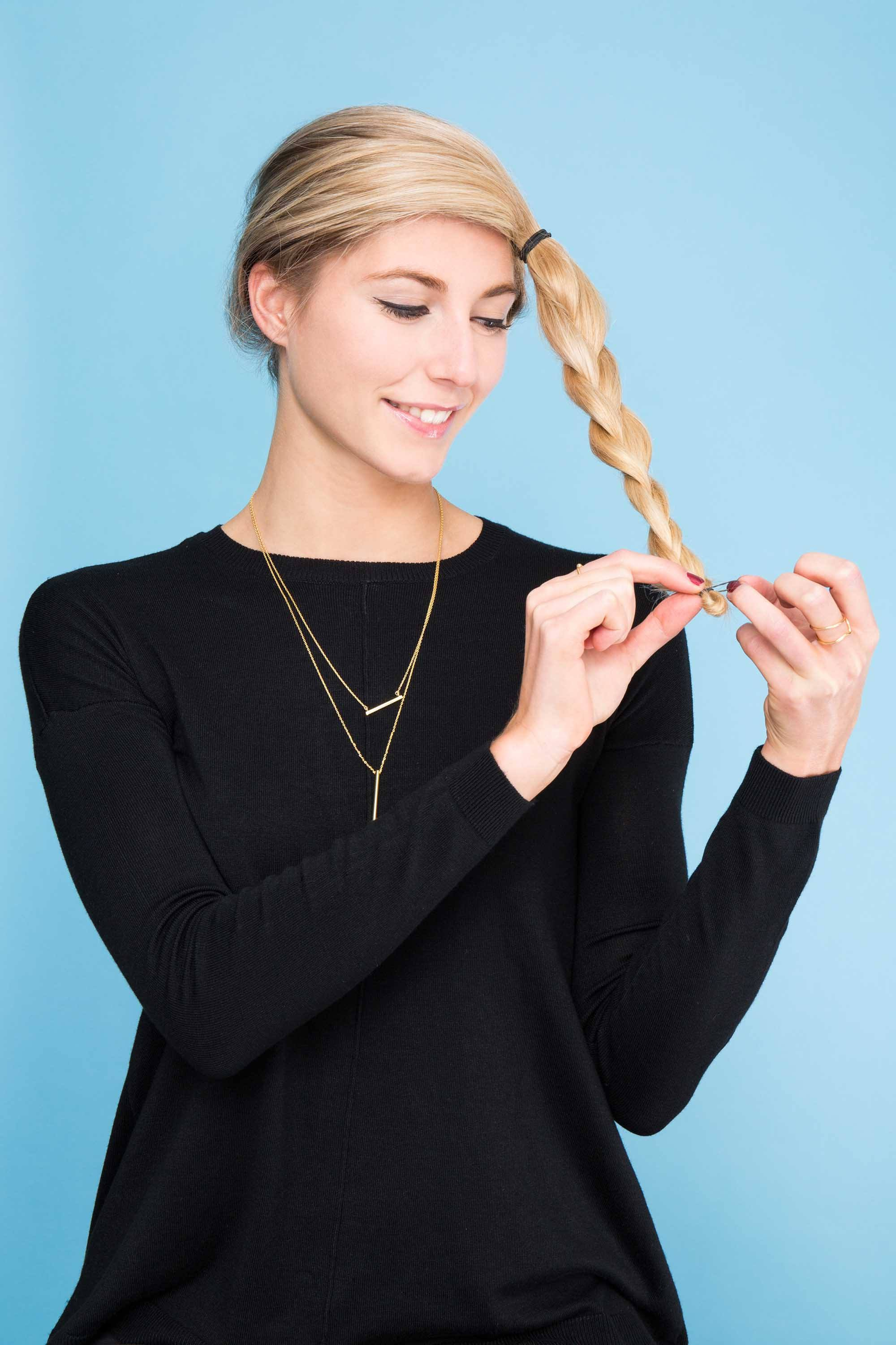 crown braid tutorial blonde elastic