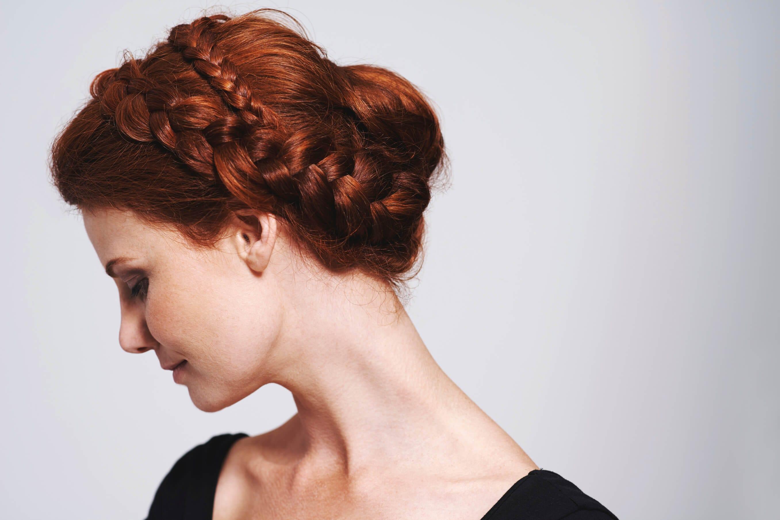 dark red hair braided updo