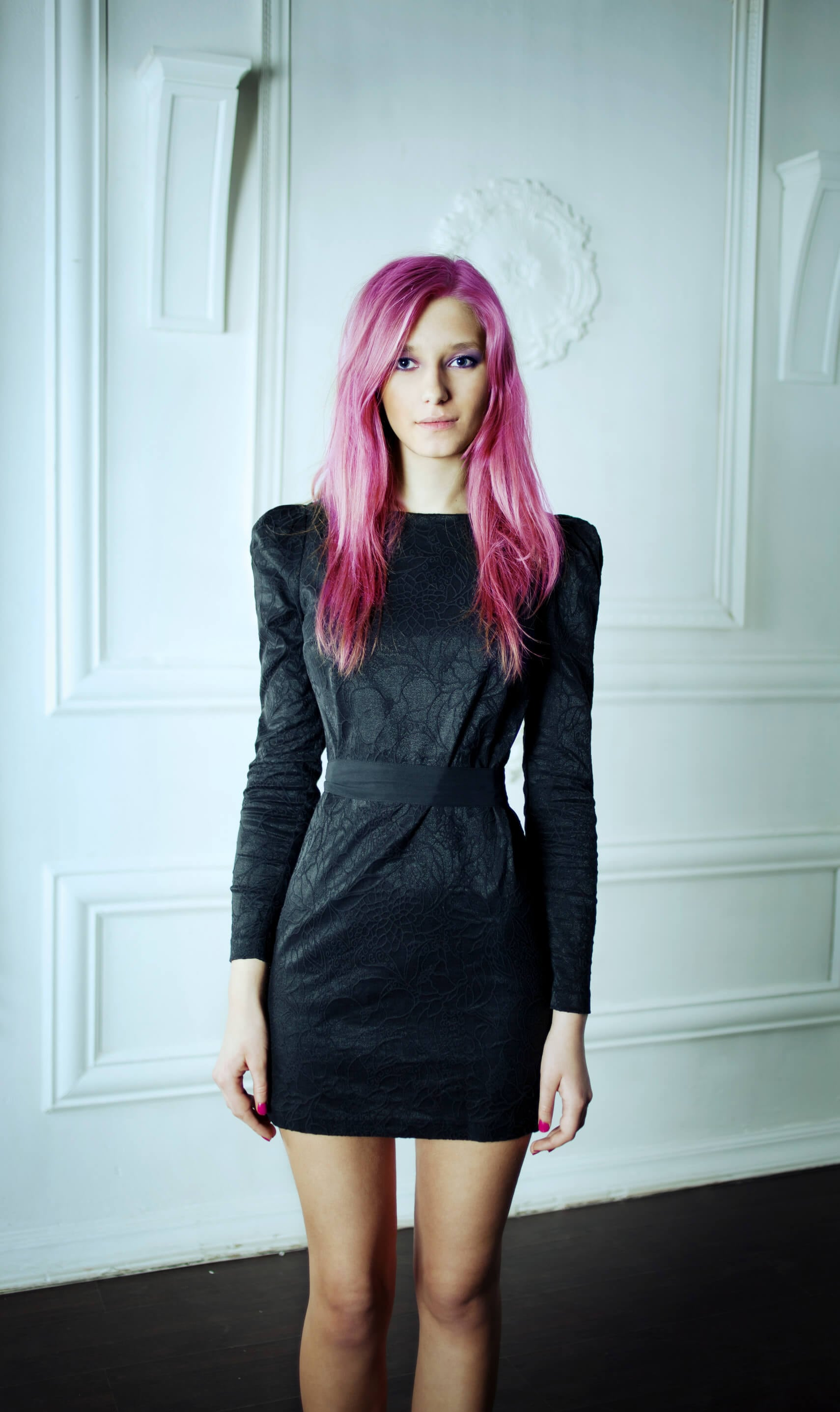 hot pink hair long side parted