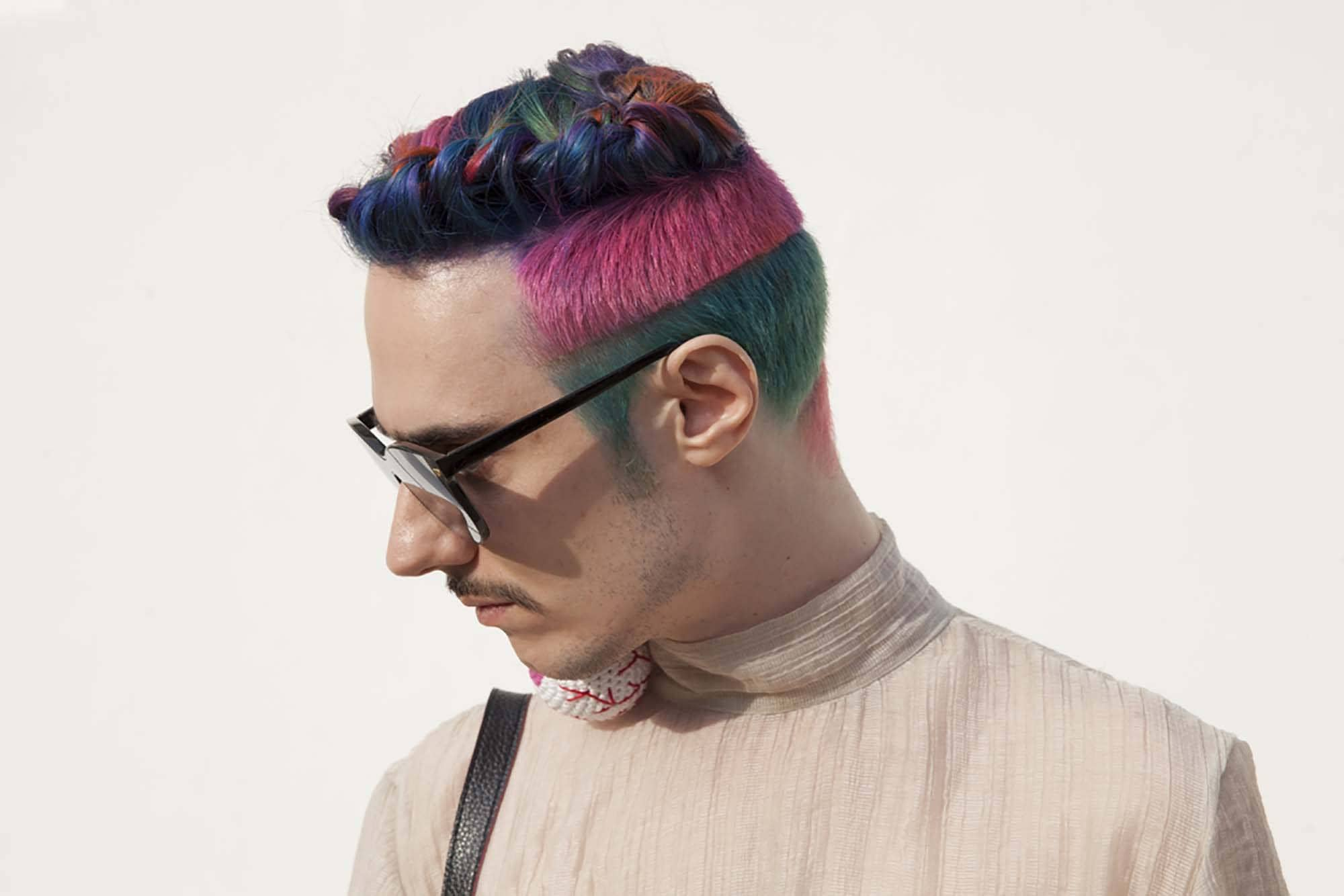 rainbow undercut mens braid