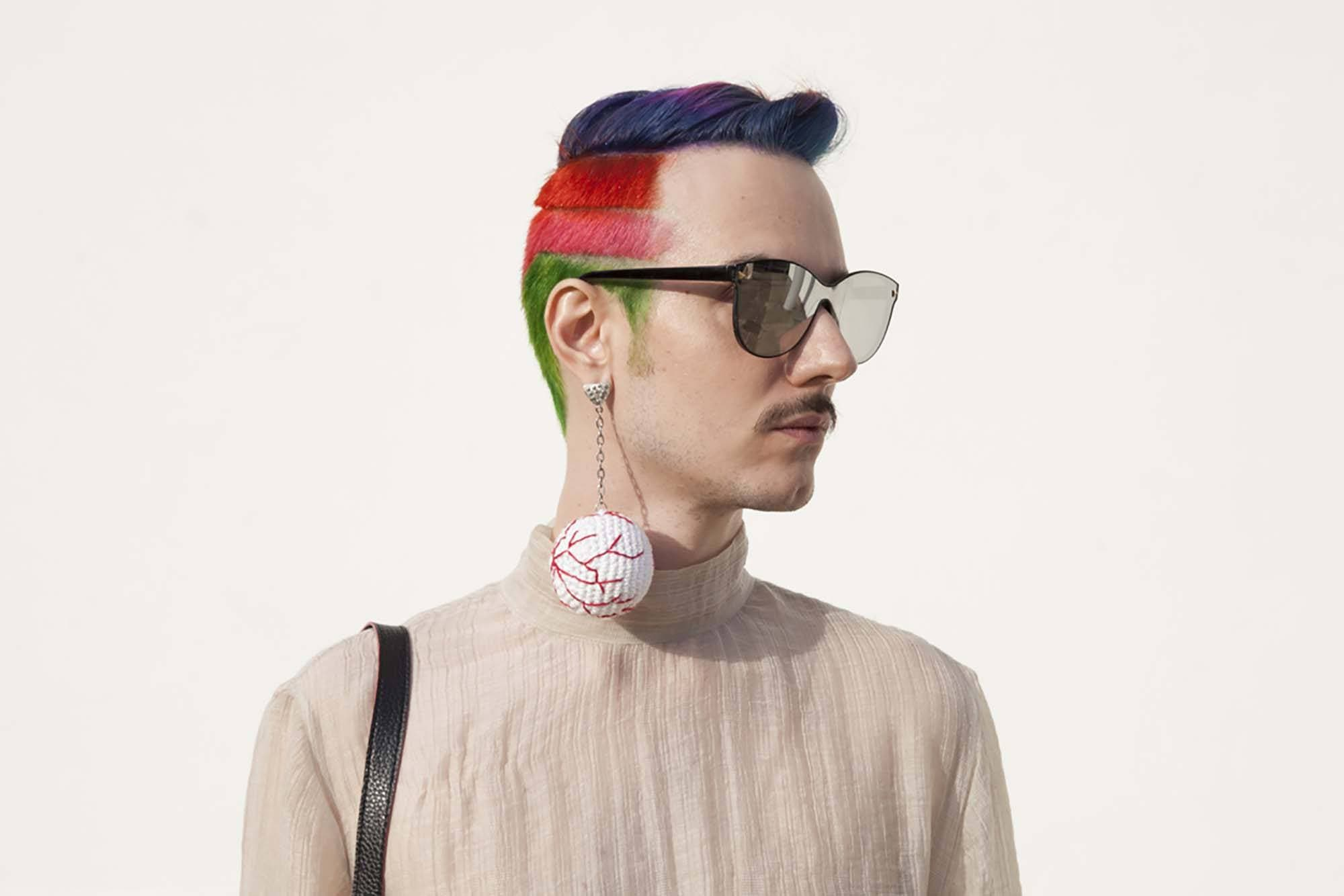 rainbow undercut mens color